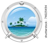 porthole overlooking the sea... | Shutterstock .eps vector #74025454