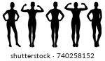 fitness woman silhouette | Shutterstock .eps vector #740258152