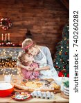 merry christmas and happy... | Shutterstock . vector #740260282