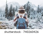 traveling woman standing in the ... | Shutterstock . vector #740260426