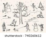 vector illustration. winter pen ... | Shutterstock .eps vector #740260612