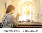 young woman prying in the... | Shutterstock . vector #740263762
