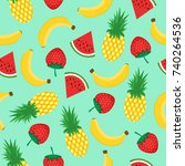 seamless pattern with yellow... | Shutterstock .eps vector #740264536