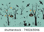 halloween pattern with forest ... | Shutterstock .eps vector #740265046