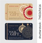 christmas gift certificate with ... | Shutterstock .eps vector #740265616