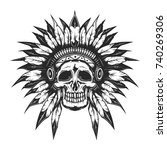 dead chief skull for creating... | Shutterstock .eps vector #740269306