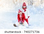 little girl and boy enjoying... | Shutterstock . vector #740271736