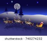 santa in his christmas sled... | Shutterstock .eps vector #740274232