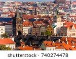 panorama prague city skyline... | Shutterstock . vector #740274478