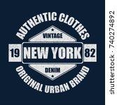 new york vintage brand graphic... | Shutterstock .eps vector #740274892