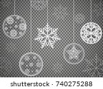 christmas ornaments made from... | Shutterstock .eps vector #740275288