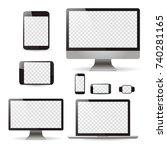 mockup set realistic monitors... | Shutterstock .eps vector #740281165
