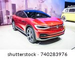 Small photo of Frankfurt, Germany, September 13, 2017: metallic red Volkswagen VW I.D. CROZZ Concept autonomous electric SUV car ID at 67th International Motor Show (IAA), sporty, zero-emission all-round vehicle