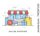 online shopping  e commerce.... | Shutterstock .eps vector #740287165
