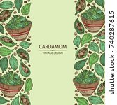 background with cardamom  seeds ...   Shutterstock .eps vector #740287615