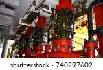 deluge system of firefighting... | Shutterstock . vector #740297602