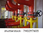 deluge system of firefighting... | Shutterstock . vector #740297605