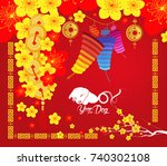 happy chinese new year 2018... | Shutterstock . vector #740302108