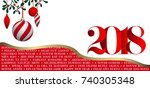 wish a happy new year 2018 in...   Shutterstock .eps vector #740305348