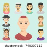 cool avatars different nations... | Shutterstock .eps vector #740307112
