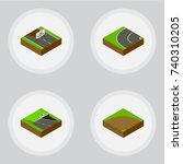 isometric road set of sand  way ... | Shutterstock .eps vector #740310205