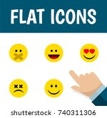 flat icon expression set of... | Shutterstock .eps vector #740311306