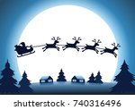 silhouette reindeer with santa... | Shutterstock .eps vector #740316496
