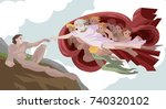 god creating adam man classic... | Shutterstock .eps vector #740320102