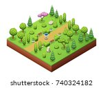isometric trees and park... | Shutterstock .eps vector #740324182