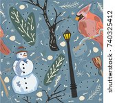 colorful winter pattern with... | Shutterstock .eps vector #740325412