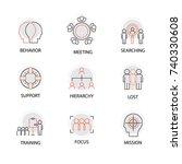 modern flat thin line icon set... | Shutterstock .eps vector #740330608