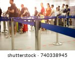 passengers check in line at the ... | Shutterstock . vector #740338945