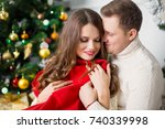 happy couple. christmas... | Shutterstock . vector #740339998