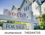 sold sign in front of a house... | Shutterstock . vector #740344735