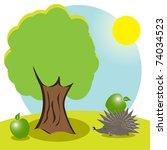 hedgehog and apple | Shutterstock . vector #74034523