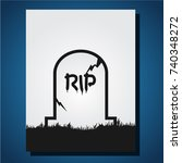 gravestone halloween icon in... | Shutterstock .eps vector #740348272