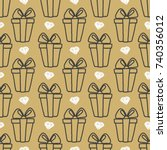 seamless pattern gift boxes and ...   Shutterstock . vector #740356012
