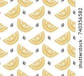 seamless citrus pattern. fruit...   Shutterstock .eps vector #740356582