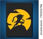 werewolf on halloween with the... | Shutterstock .eps vector #740356786