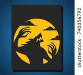 werewolf on halloween with the...   Shutterstock .eps vector #740356792