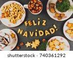 feliz navidad cookies. words... | Shutterstock . vector #740361292