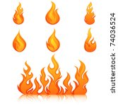 fire flames. collage. | Shutterstock .eps vector #74036524