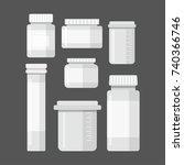 jar of medical tablet set. jar... | Shutterstock .eps vector #740366746
