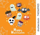 halloween background vector... | Shutterstock .eps vector #740369905