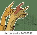hands up showing rock sign... | Shutterstock .eps vector #74037592