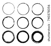 grunge circles round shapes...   Shutterstock .eps vector #740378356