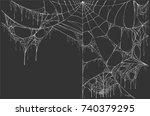 large white torn spider web on... | Shutterstock .eps vector #740379295