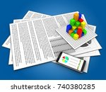 3d illustration of documents... | Shutterstock . vector #740380285