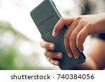 a girl student using samsung... | Shutterstock . vector #740384056