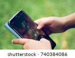 a girl student using samsung... | Shutterstock . vector #740384086